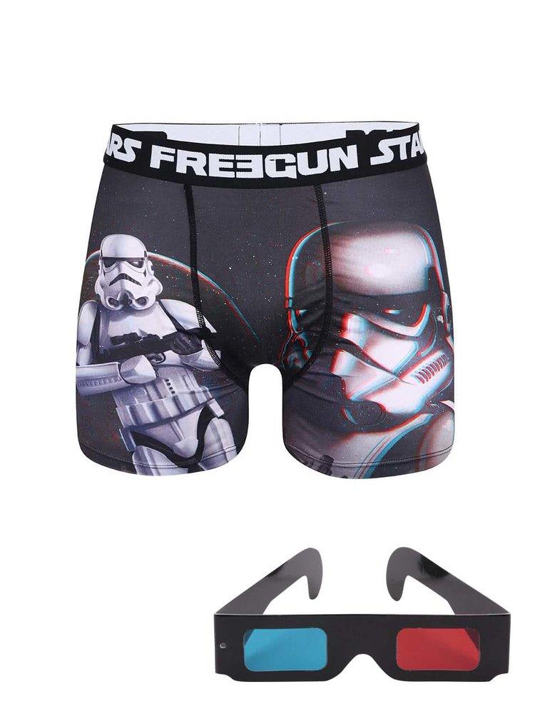 Boxeri Freegun Star Wars negru cu imprimeu 3D și ochelari 3D
