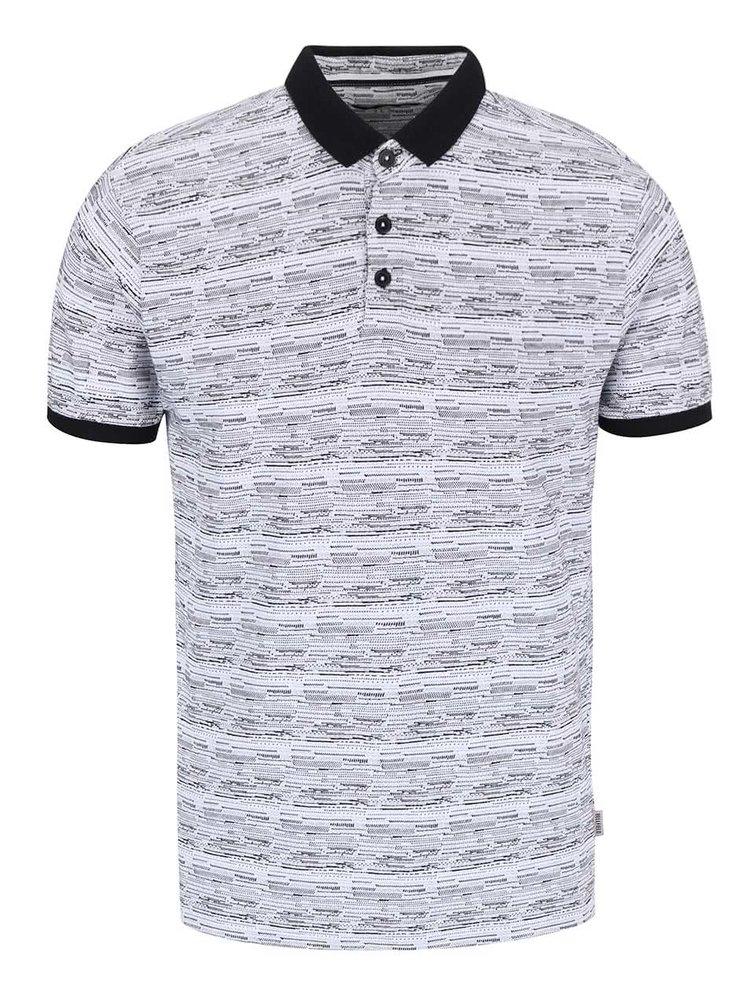 Bellfield Wrexham White Patterned Polo T-shirt with Black Hems