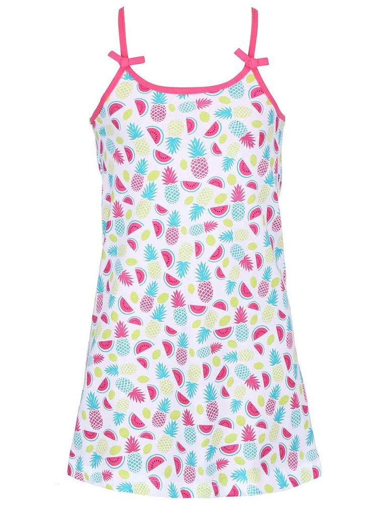 Biele dievčenské šaty s potlačou ovocia Blue Seven