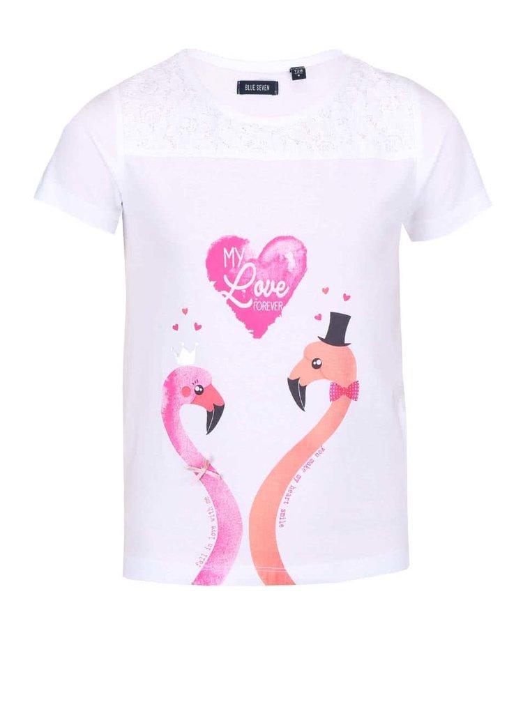 Biele dievčenské tričko s potlačou plameniakov Blue Seven