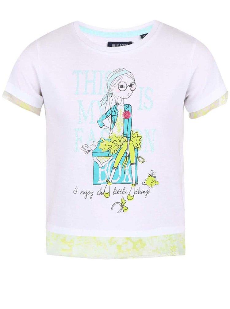 Žlto-biele dievčenské tričko s potlačou Blue Seven