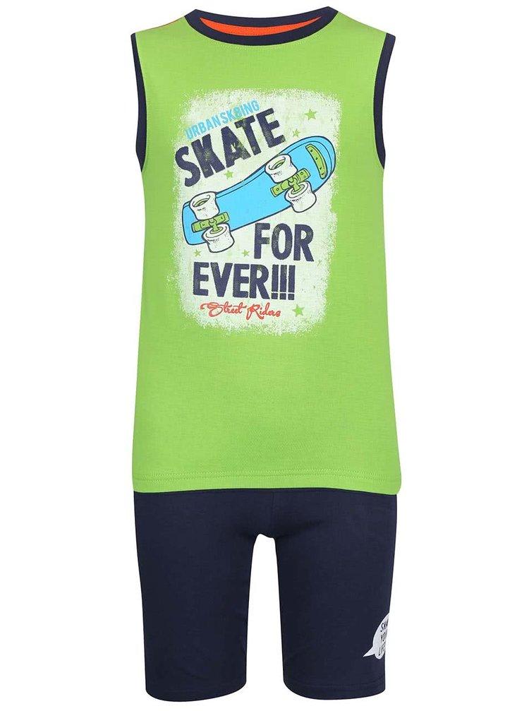 Set de pantaloni scurți și maieu Blue Seven pentru băieți verde cu imprimeu