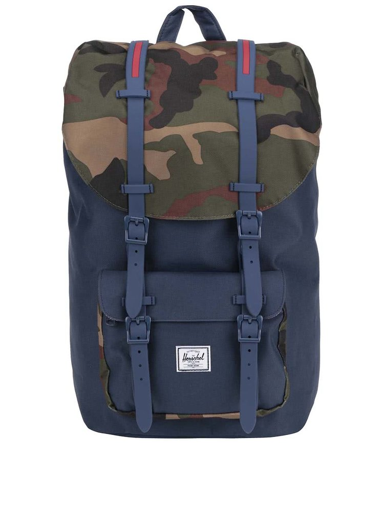 Modrý batoh s maskáčovou klopou Herschel Little America