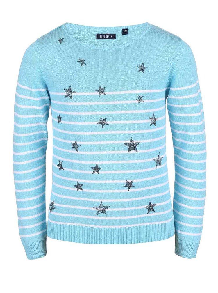 Tyrkysový holčičí svetr s hvězdičkami Blue Seven
