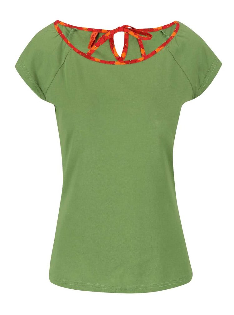 Zelený top s červeným lemom Tranquillo Grashoper