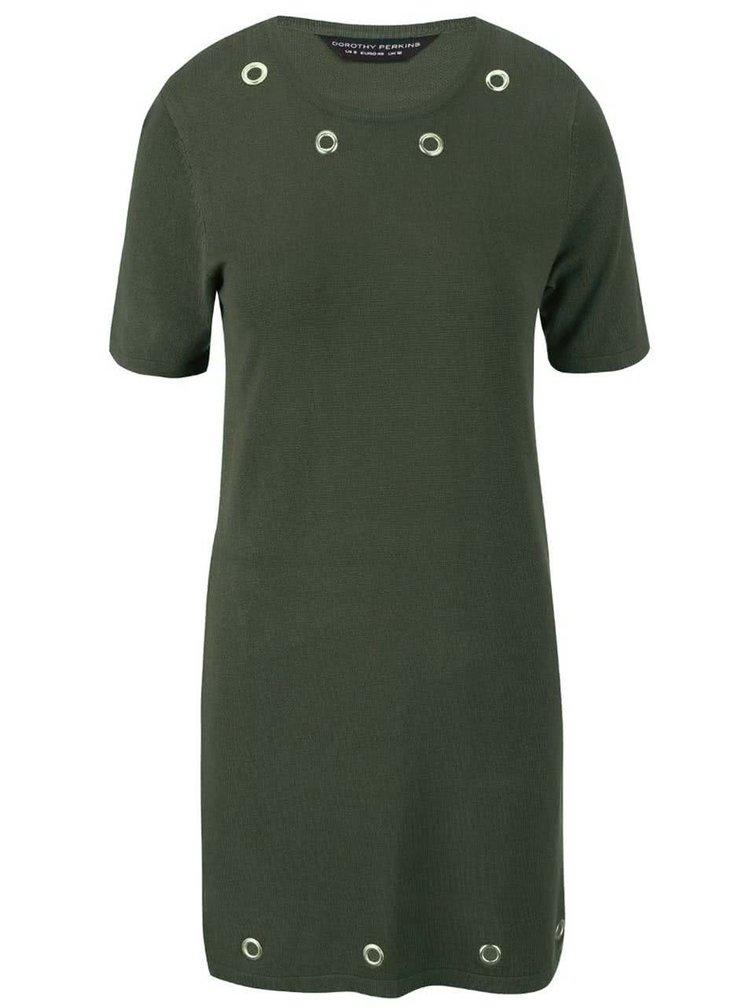 Kaki šaty s krátkymi rukávmi Dorothy Perkins