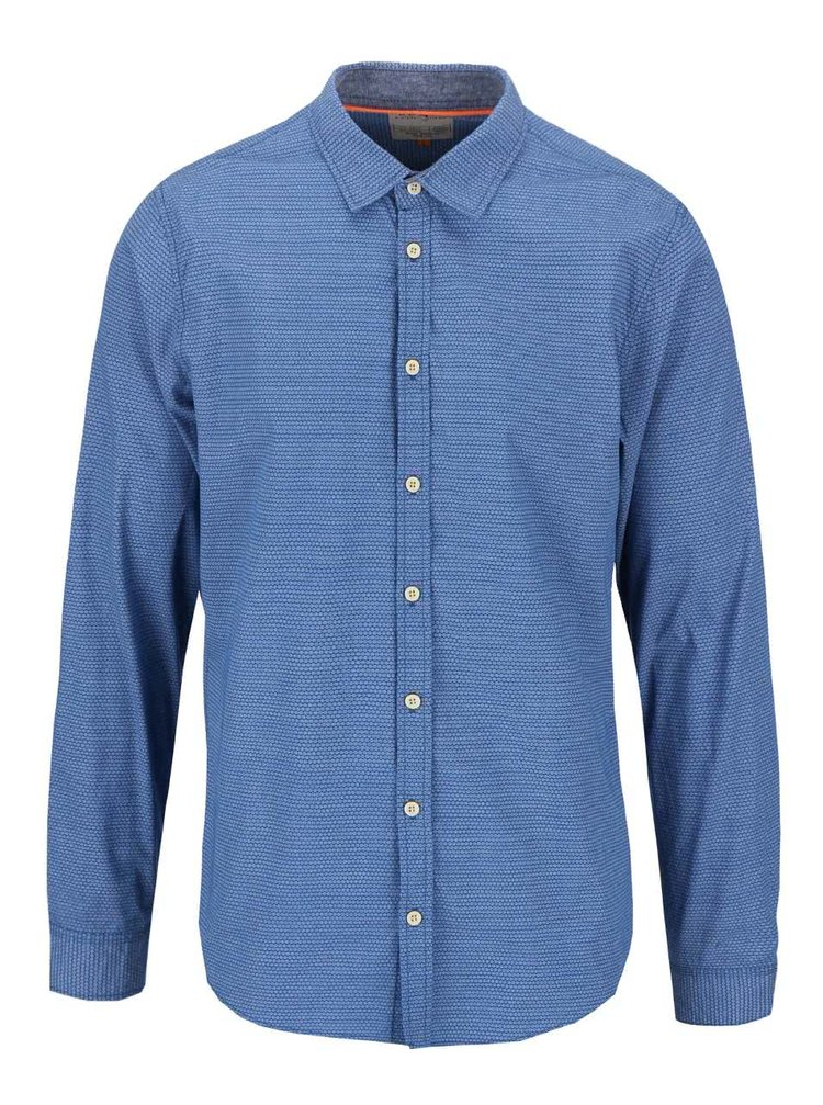 Tricou Blend de culoare albastră cu model slim fit