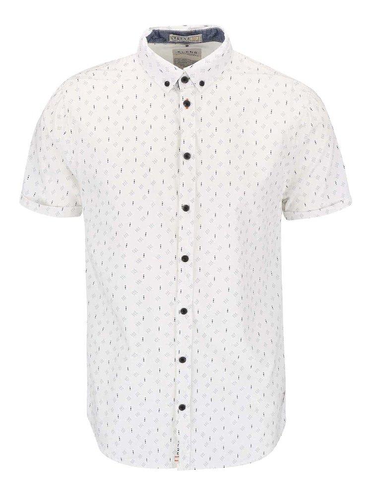 Krémová vzorovaná slim košeľa s krátkym rukávom Blend