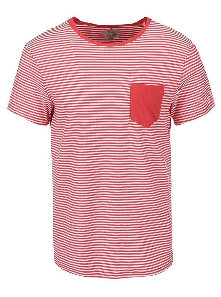 Červené pruhované triko s náprsní kapsou Blend