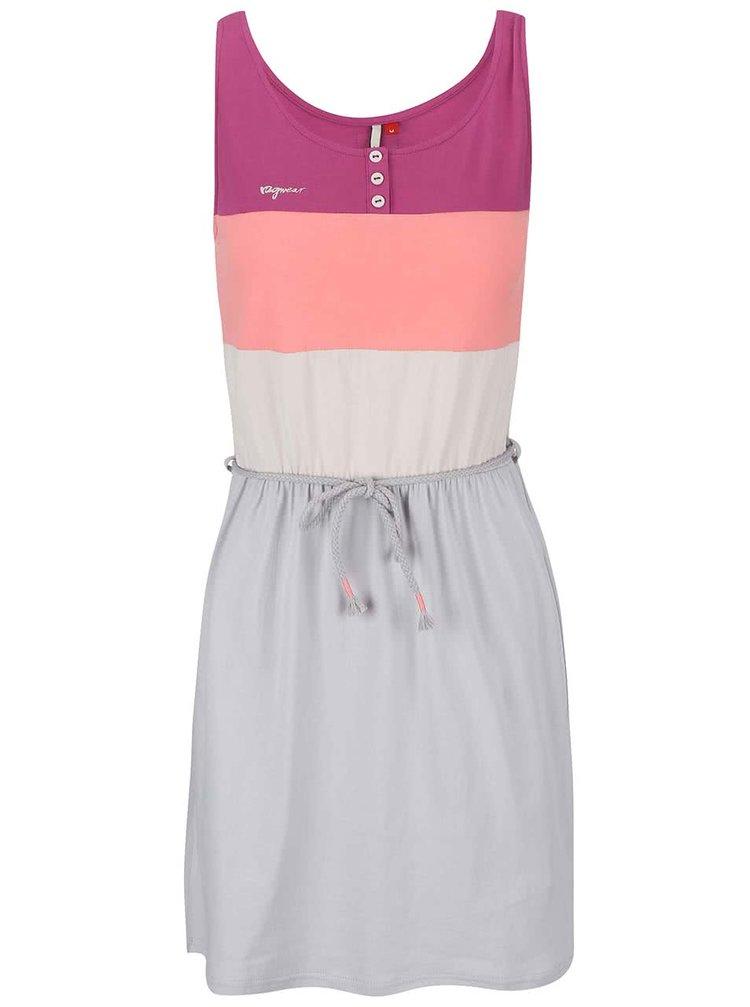 Růžovo-šedé šaty s pruhy Ragwear Emily