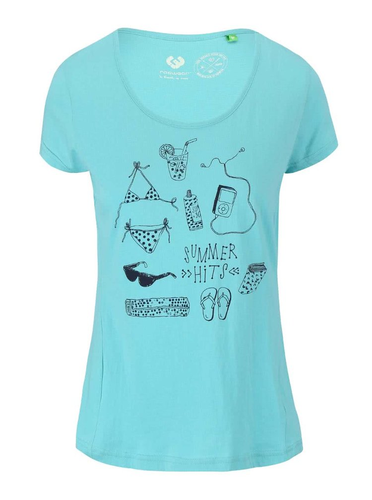 Modrozelené dámske tričko Ragwear Sugar Organic