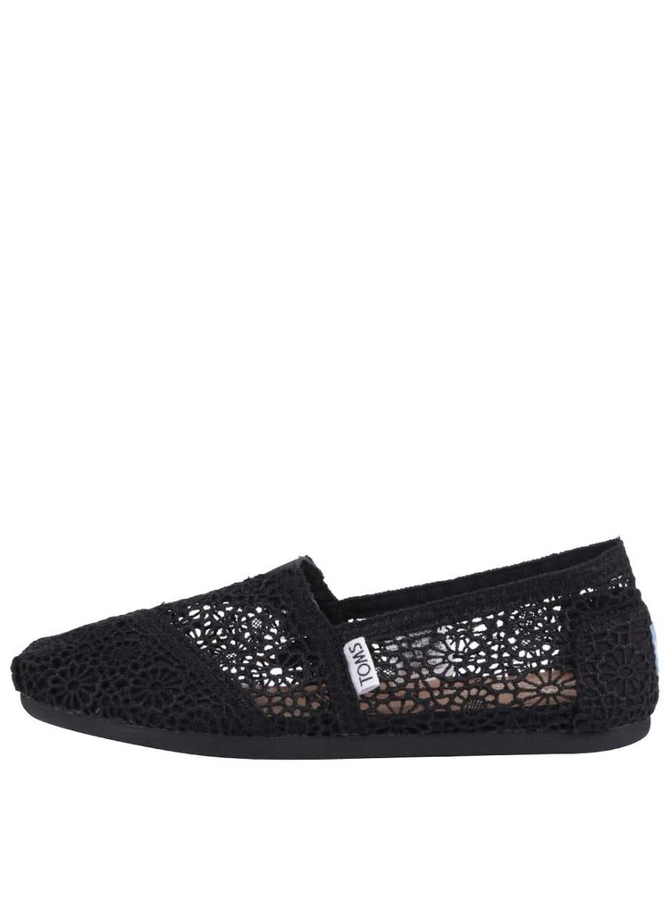 Čierne háčkované loafers TOMS