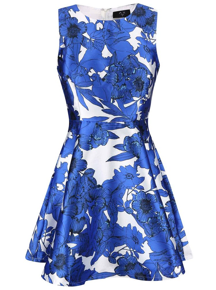 Rochie AX Paris alb și albastru cu imprimeu floral