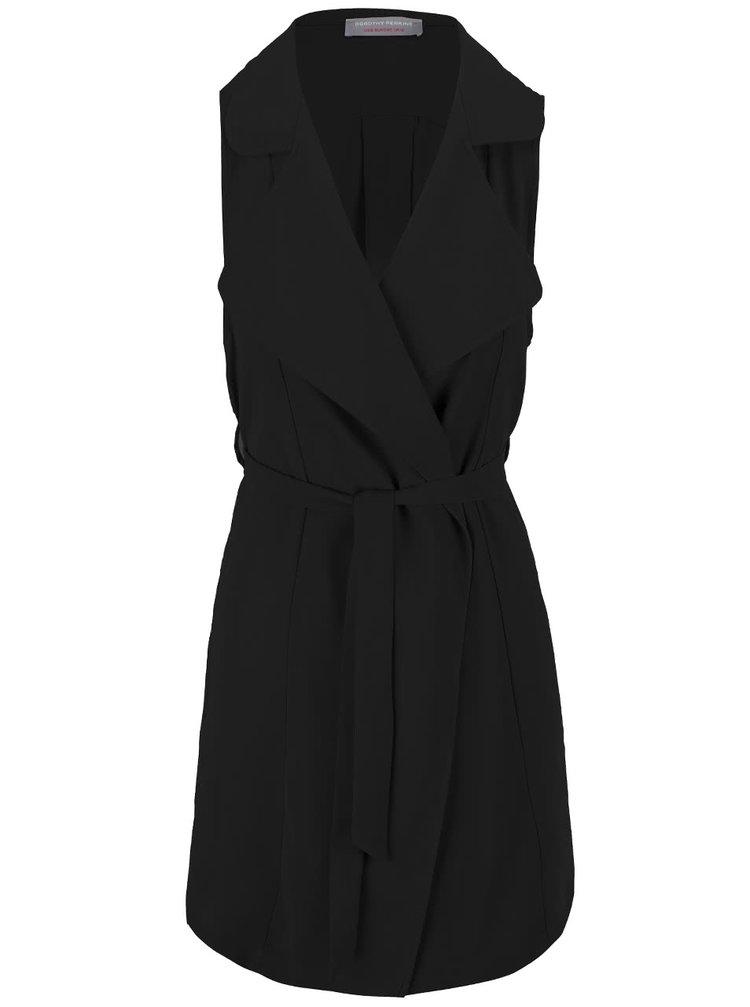 Čierny kaskádový blejzer bez rukávov Dorothy Perkins Petite