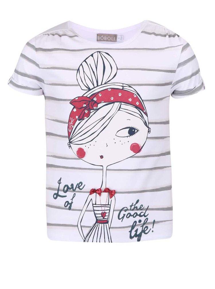 Bílé holčičí pruhované tričko s potiskem Bóboli
