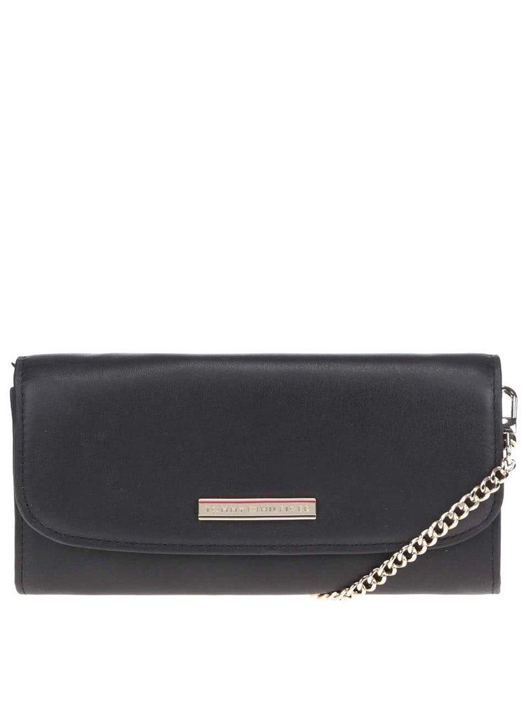 Černá malá kožená kabelka/psaníčko přes rameno Tommy Hilfiger