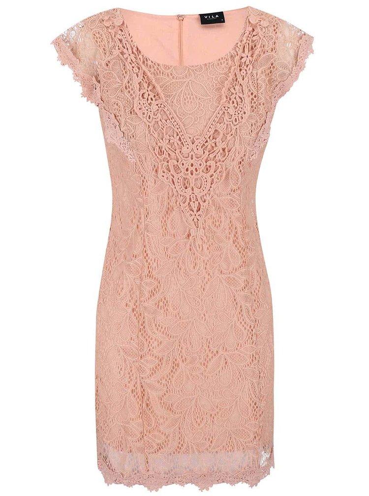 Meruňkové krajkované šaty VILA Mialy