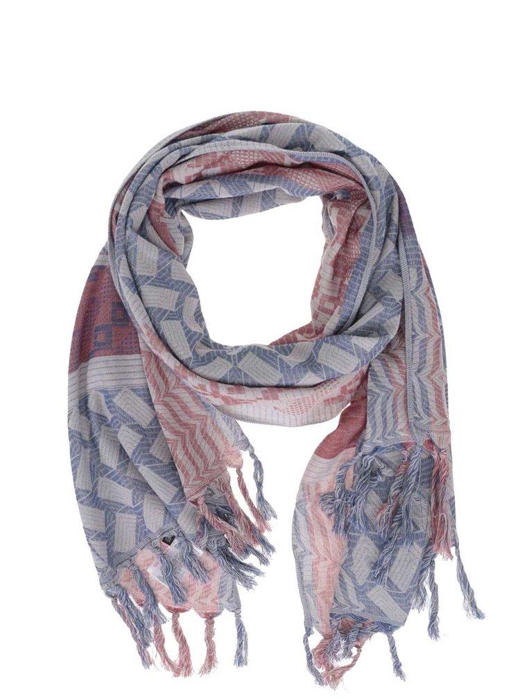Krémový šátek s červeno-modrým vzorem ONLY Jacquard