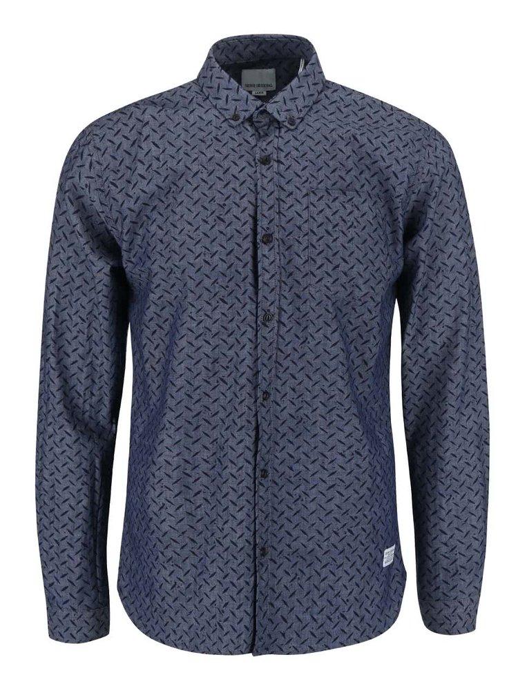 Modrá vzorovaná košeľa s dlhým rukávom Shine Original Gibson Out