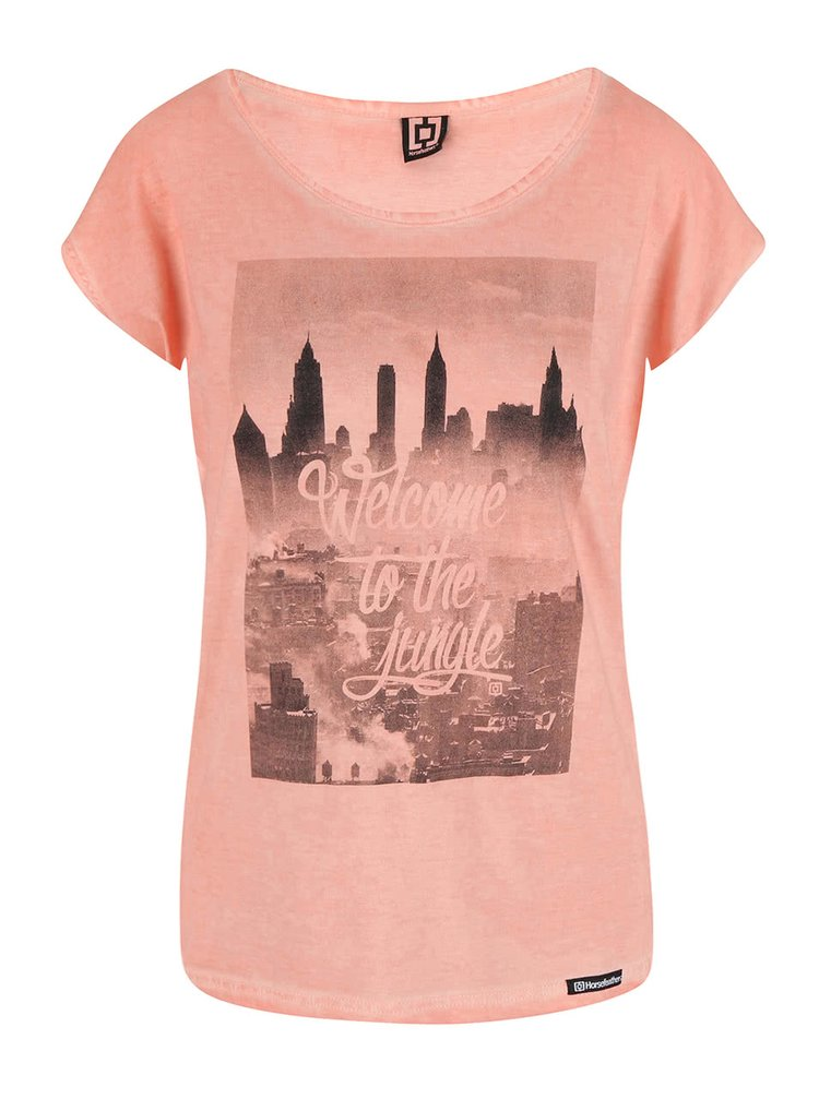 Oranžové tričko s potiskem Horsefeathers The Town