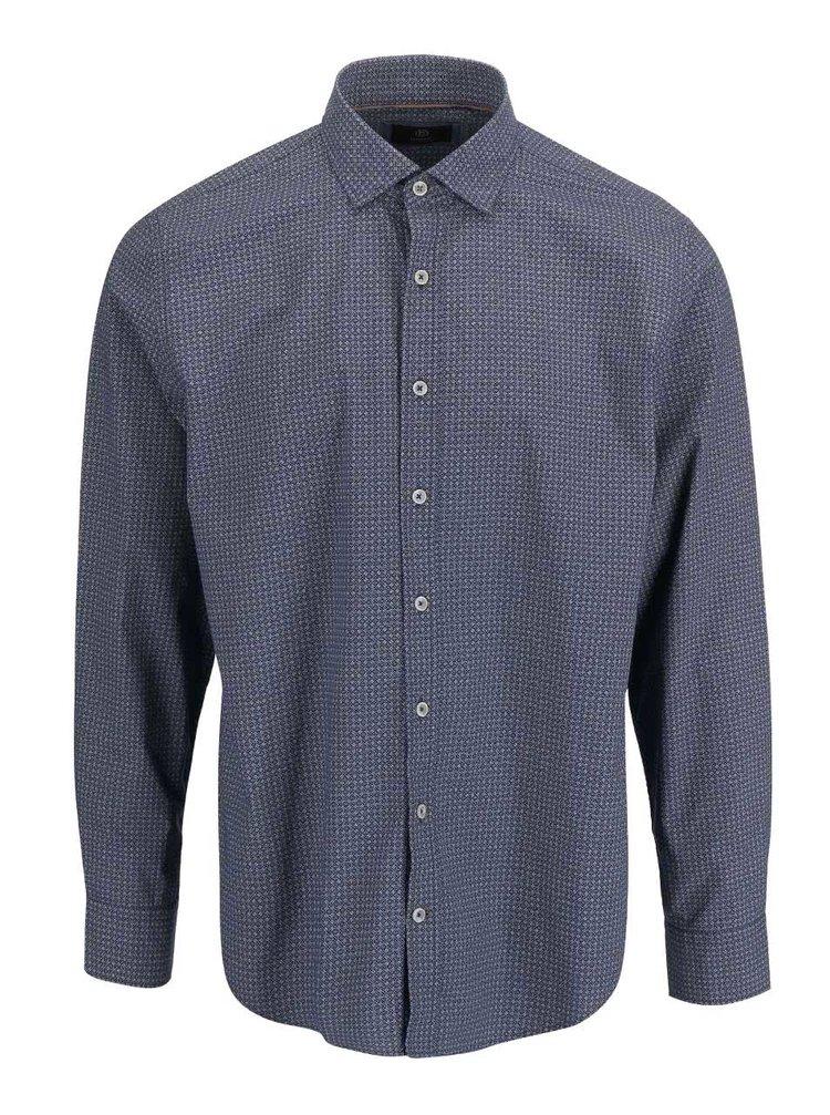 Modrá pánska košeľa s drobným vzorom bugatti