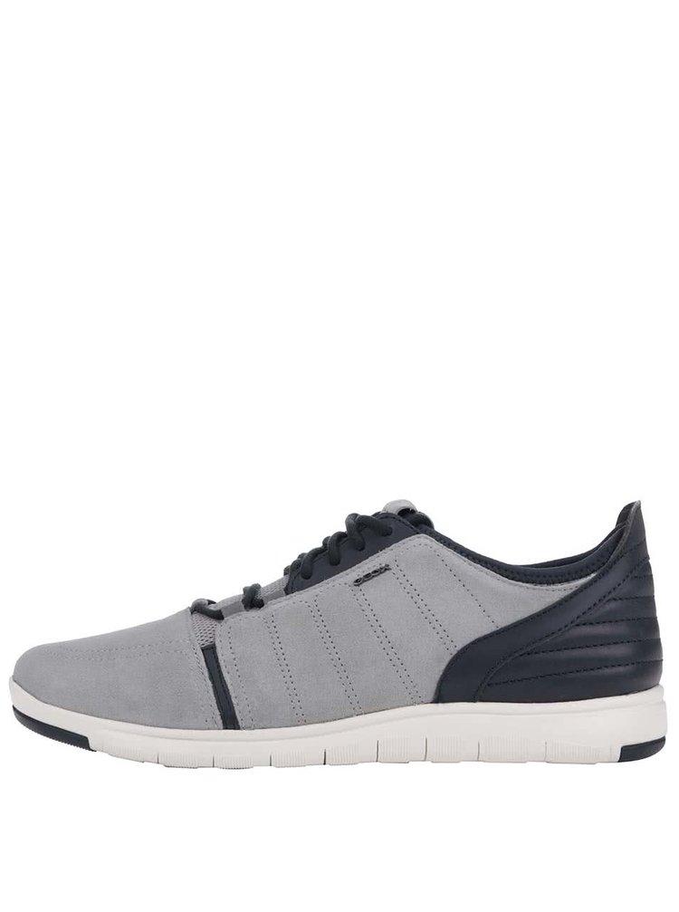 Modro-šedé pánské kožené tenisky Geox Xunday