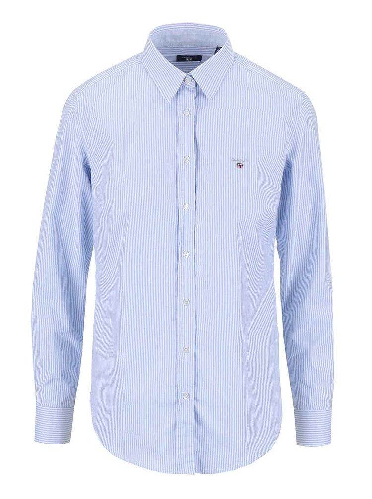 Modrá dámska košeľa s bielymi prúžkami GANT