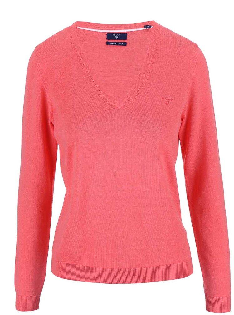 Koralový dámsky sveter s výstrihom do V GANT