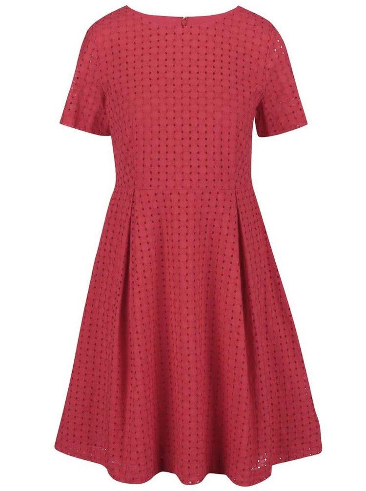 Červené perforované šaty s krátkym rukávom GANT