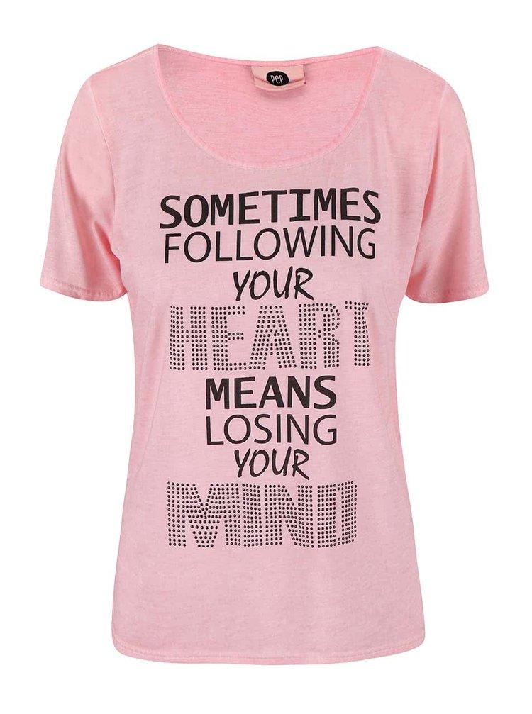Růžové tričko s potiskem PEP Blow
