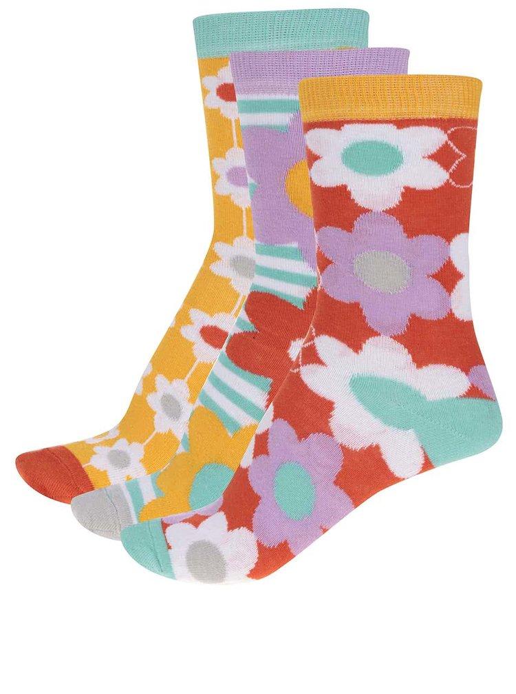 Sada tří květinových dámských ponožek Oddsocks Freya