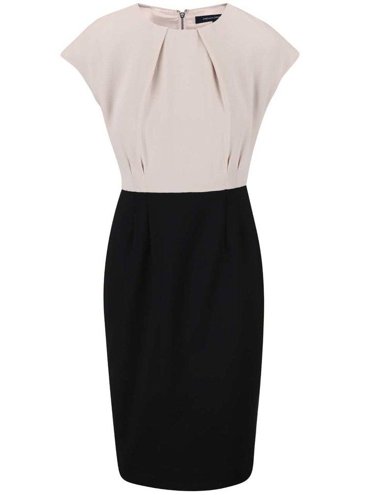 Černo-krémové pouzdrové šaty French Connection Rikki