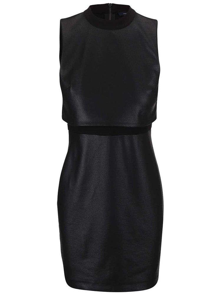 Černé koženkové šaty French Connection Cracked