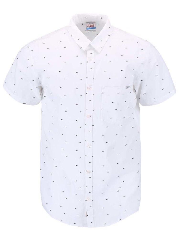Biela vzorovaná košeľa s krátkym rukávom Jack & Jones Shark