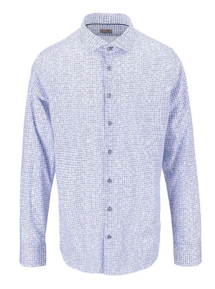Modro-bílá vzorovaná košile Seidensticker Shark Slim Fit