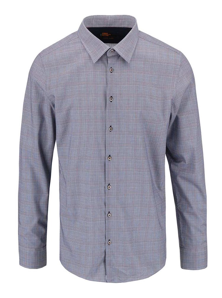 Modrá košile se vzorem Glenček Seidensticker Classic Kent Patch Uno Super Slim