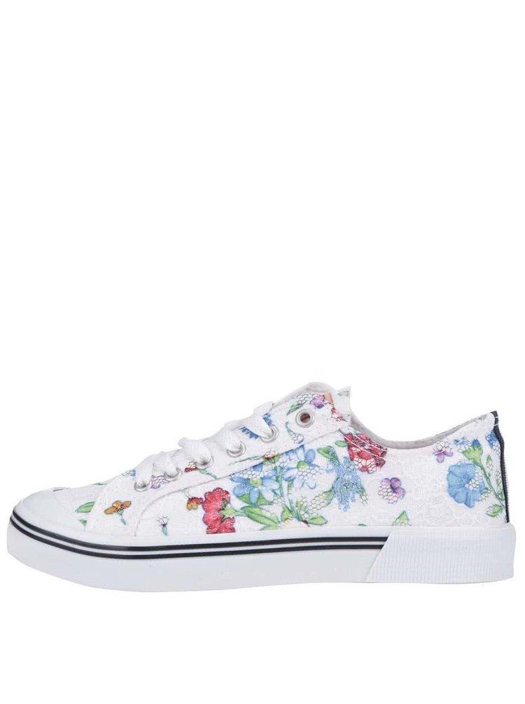 Biele kvetinové dámske tenisky U.S. Polo Assn. Norw Flowers