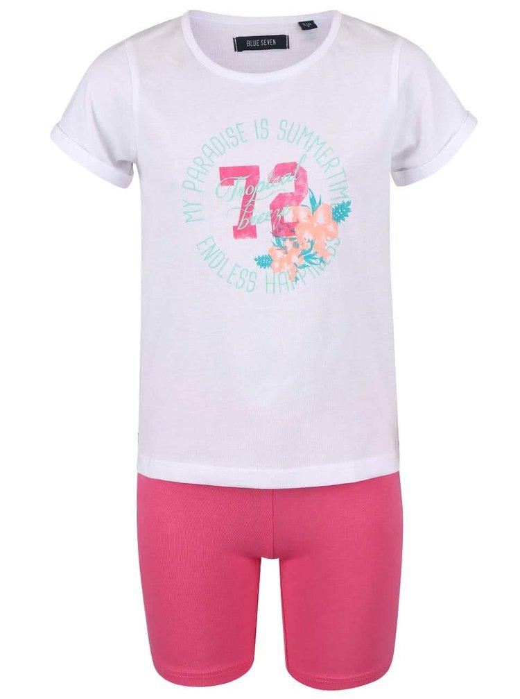 Súprava bieleho dievčenského trička s kraťasmi Blue Seven