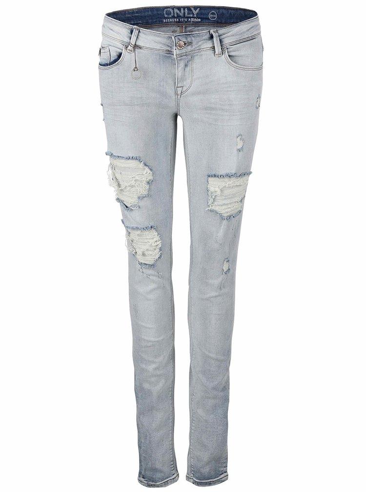 Světle modré džíny s vyšisovaným a potrhaným efektem ONLY Coral
