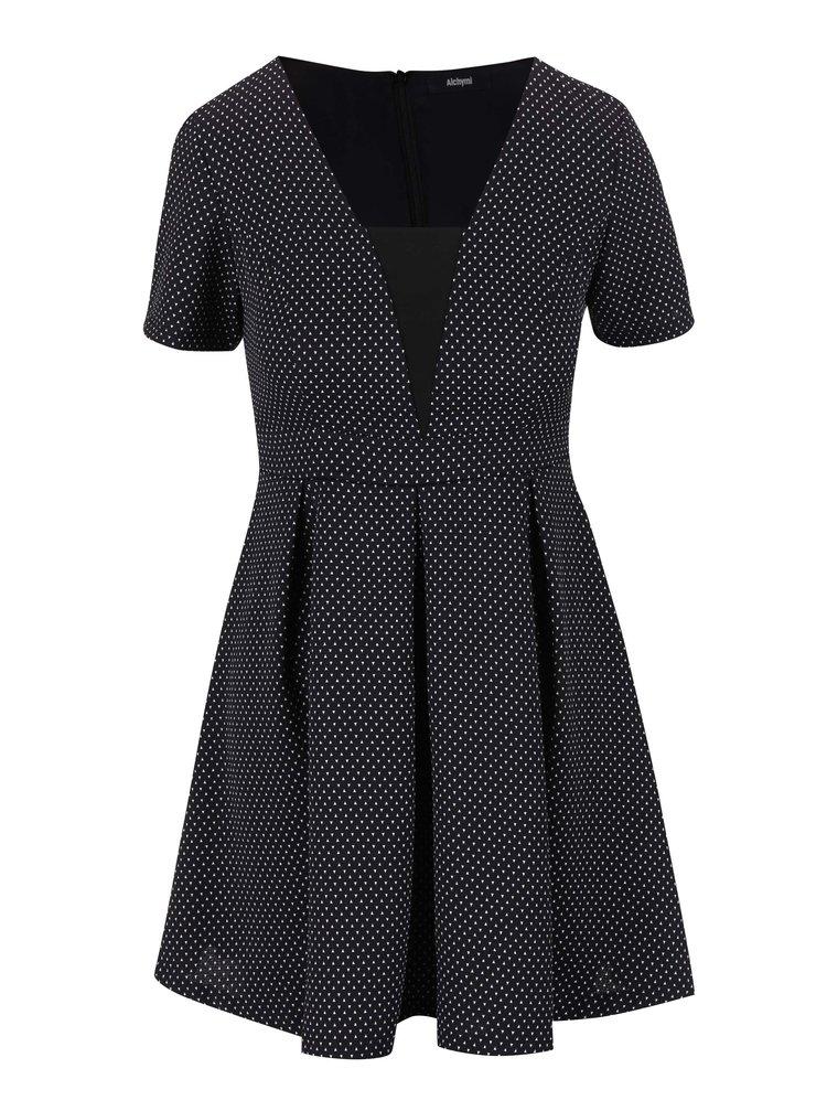 Bílo-černé vzorované šaty Alchymi Volcan