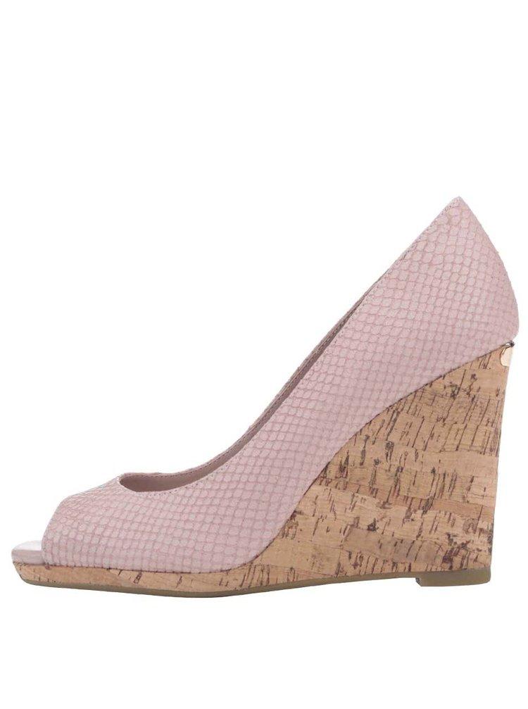 Ružové kožené sandále na platforme Dune London Charlotte
