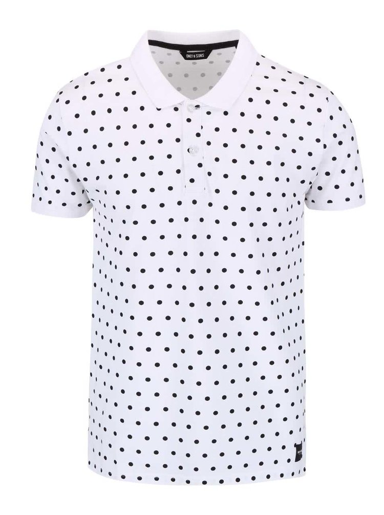 Tricou ONLY & SONS Polka alb