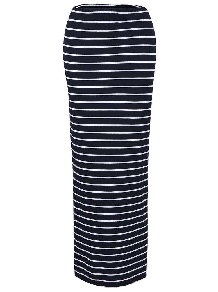 Tmavomodrá dlhá pruhovaná sukňa s rozparkami ONLY Abbie