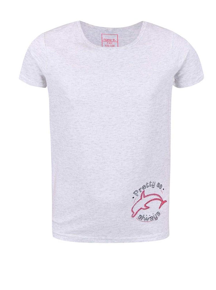 Svetlosivé dievčenské tričko s delfínom name it Vix