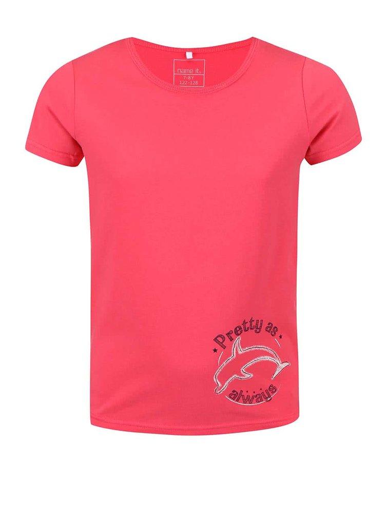 Červené holčičí tričko s delfínem name it Vix