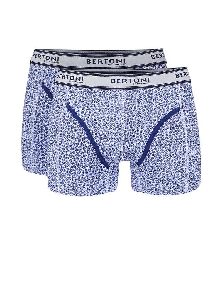 Kolekcia dvoch modrých vzorovaných boxeriek Bertoni Bertil