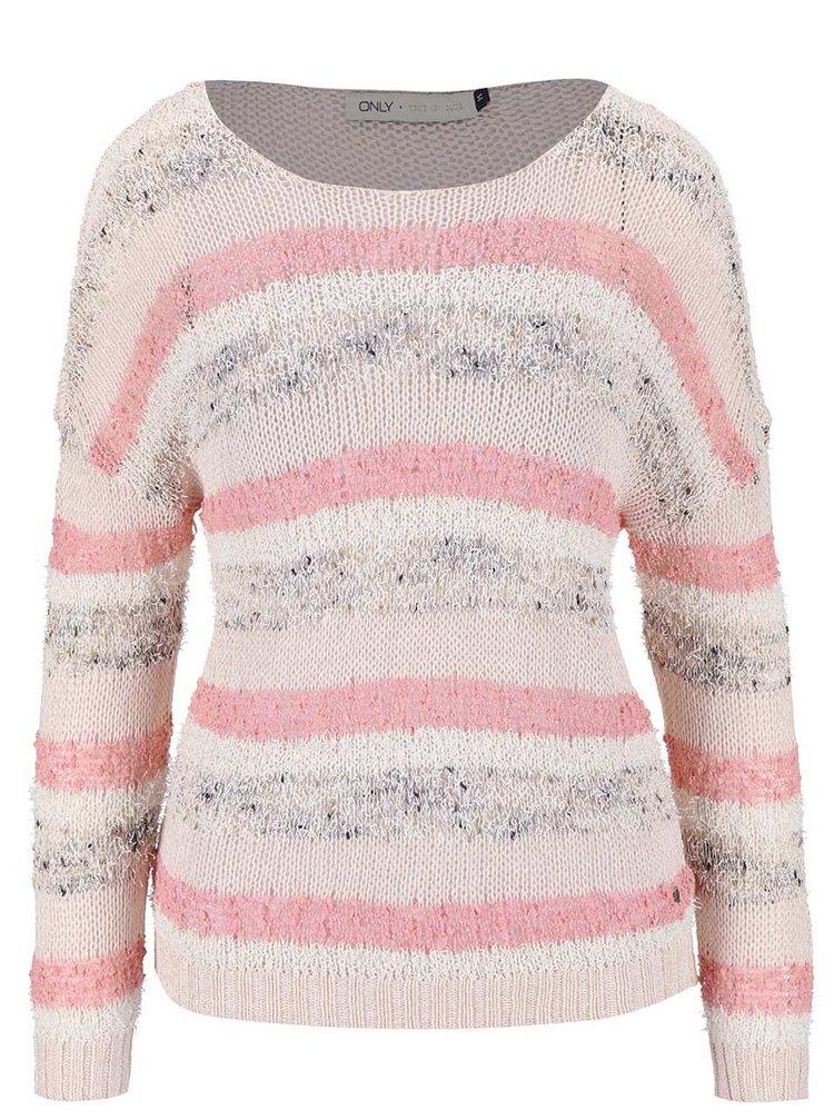 Ružovo-krémový pruhovaný sveter ONLY Micca