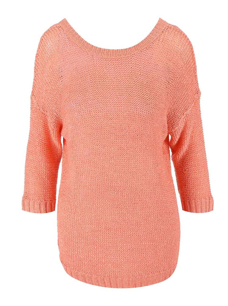 Koralový sveter s 3/4 rukávmi VILA Pray