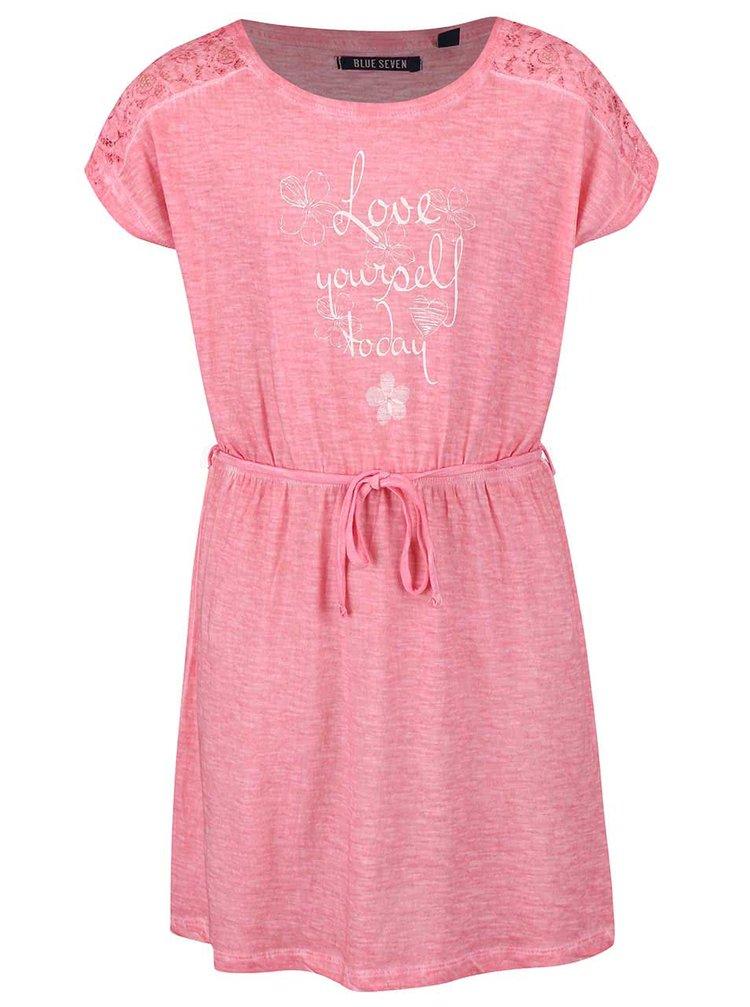 Ružové dievčenské šaty so šnúrkou Blue Seven