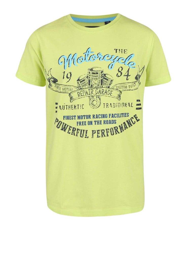 Limetkovozelené chlapčenské tričko s motorkárskou potlačou Blue Seven